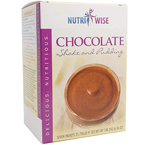 NutriWise - Chocolate Shake or Pudding Mix | High Protein, Gluten Free, Low Fat, Low Carb (7/Box)
