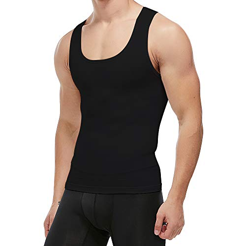 KOCLES Men's Compression Tank Top Slimming Body Shaper Vest Shirts Abs Abdomen Slim Undershirts Gym Weight Loss Workout Clothing (Black, X-Large)