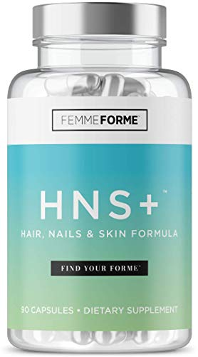 Femme Forme HNS+ Hair Skin and Nails Pills: All Natural Beauty Supplement with Biotin for Hair Growth, Stronger Nails, and Beautiful, Vibrant Skin, Contains Lutein and Zeaxanthin, 90 Capsules