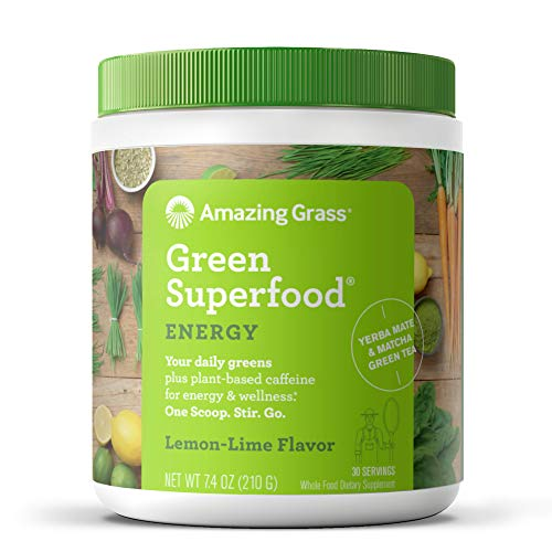 Amazing Grass Green Superfood Energy: Super Greens Powder & Plant Based Caffeine with Matcha Green Tea, Lemon Lime, 30 Servings