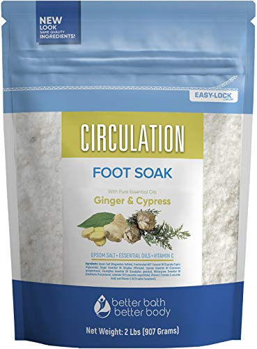 Circulation Foot Soak 32 Ounces Epsom Salt with Natural Ginger, Cypress, Eucalyptus, Wintergreen and Lavender Essential Oils Plus Vitamin C in BPA Free Pouch with Easy Press-Lock Seal