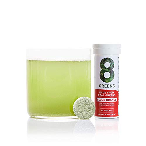 8Greens Effervescent Super Greens Dietary Supplement - 8 Essential Healthy Real Greens in One (Blood Orange, 1 Tube / 10 Tablets)
