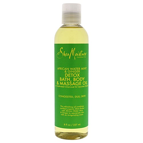 Shea Moisture African Water Mint & Ginger Detox Bath-Body & Massage Oil for Unisex, 8 Ounce