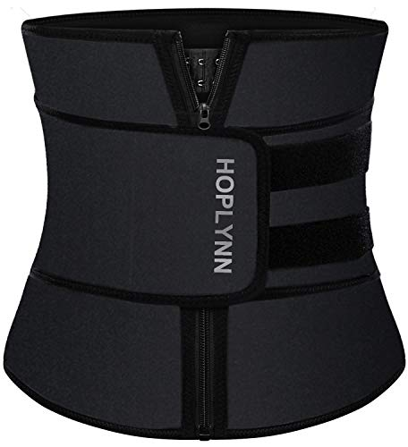 HOPLYNN Neoprene Sweat Waist Trainer Corset Trimmer Belt for Women Weight Loss, Waist Cincher Shaper Slimmer Black Medium