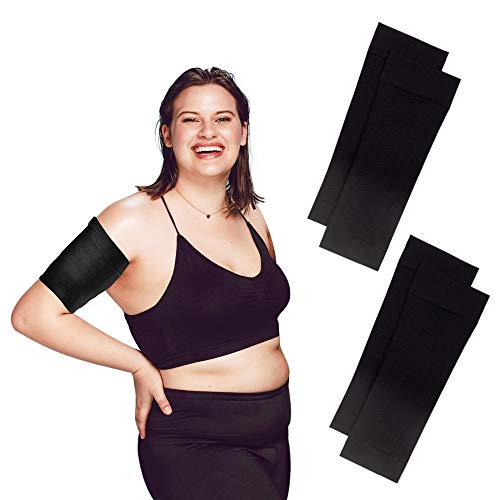 Arm Shapers For Women - Upper Arm Compression Sleeve To Help Tone Arms - Slimming Arm Wraps For Flabby Arms - Helps Shape Upper Arms Ideal For Plus Size Women - 2 Pairs Black