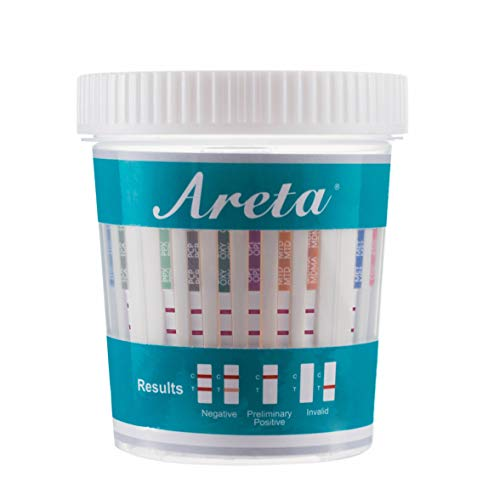 10 Pack Areta 14 Panel Instant Drug Test Cup -Testing Instantly for 14 Different Drugs: AMP,BAR,BUP,BZO,COC,MAMP (MET),MDMA,MTD,OPI2000 (OPI),OXY,PCP,PPX,TCA,THC-#ACDOA-1144
