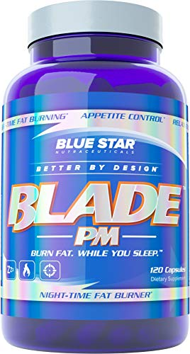 Blue Star Blade PM Night-time Fat Burner for Men: Improve Sleep Quality and Latency While Scientifically Boosting Metabolism - Burn Body Fat and Support Weight Loss While You Sleep, 120 Diet Pills