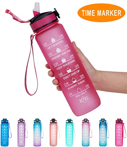 Giotto 32oz Large Leakproof BPA Free Drinking Water Bottle with Time Marker & Straw to Ensure You Drink Enough Water Throughout The Day for Fitness and Outdoor Enthusiasts-Pink