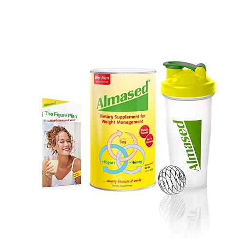 Almased Low-Glycemic High Protein Powder Shake Meal Replacement for Weight Management Non-GMO Plant-Based Protein Gluten Free 17 oz (1 Pack + Blender Bottle and Diet Program Book)