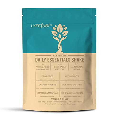 Low Carb Meal Replacement Shakes for Weight Loss by LYFE Fuel | All-in-One Vegan Protein Powder, Organic Superfoods, Essential Vitamins & Minerals | Keto, Soy-Free, Gluten-Free | 24 Vanilla Chai Meals
