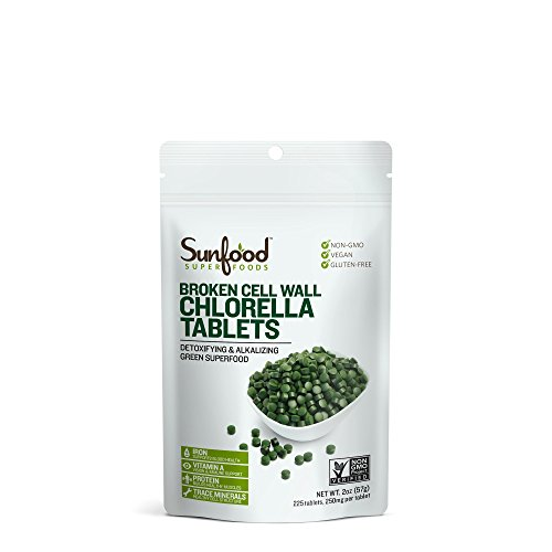 Sunfood Superfoods Chlorella Tablets | Broken Cell Wall | Pure, Single Ingredient Product | Ultra Clean- No Additives, Fillers, Preservatives, Chemicals | 250 mg Chlorella Tablets | 225 Count | 2 oz