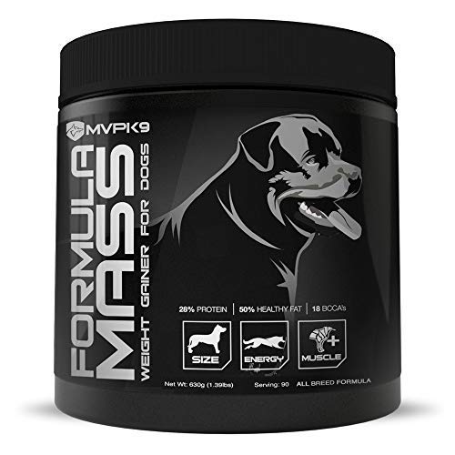 MVP K9 Formula Mass Weight Gainer for Dogs - Helps Promote Healthy Weight Gain, Size and Muscle in Dogs - Great for Skinny, Underweight, Picky Eaters. All Breed Formula, Made in USA (90 Servings)