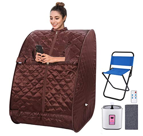 OppsDecor Portable Steam Sauna, 2L Personal Therapeutic Sauna Home Spa for Weight Loss Detox Relaxation Slimming,One Person Sauna with Remote Control,Foldable Chair,Timer(US Plug) (Browne)