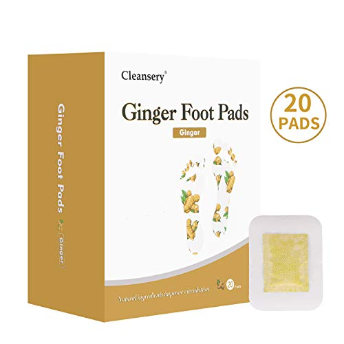 Ginger Foot Pads (20 Pads), Herbal Ginger Patch for Body Cleansing, Foot Patches for Swelling Feet, Better Sleep and Pain Relief, 100% Natural Ingredients, Ginger Powder and Bamboo Vinegar, 20 PCS