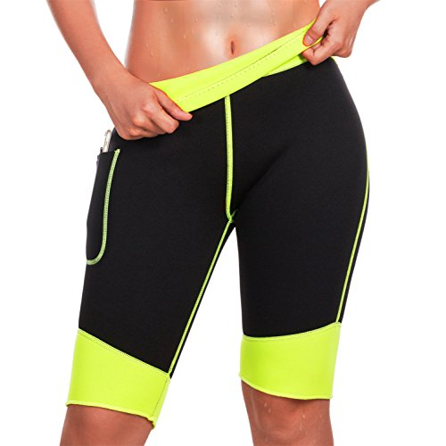 TrainingGirl Hot Neoprene Sauna Sweat Shorts with Pocket for Women Weight Loss Slimming Pants Workout Body Shaper Yoga Leggings (Black Hot Sauna Shorts, M)
