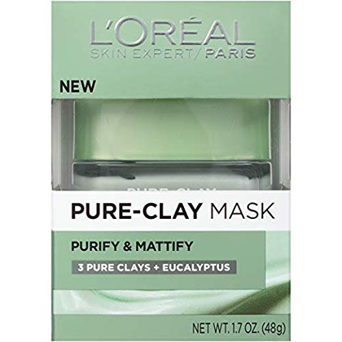 L'Oreal Skin Expert Pure Clay Purify & Mattify Mask, 1.7 Oz (Pack of 2)