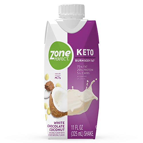 ZonePerfect Keto Shake, White Chocolate Coconut Flavor, True Keto Macros, Made With MCTs, 11 fl oz, 12 Count