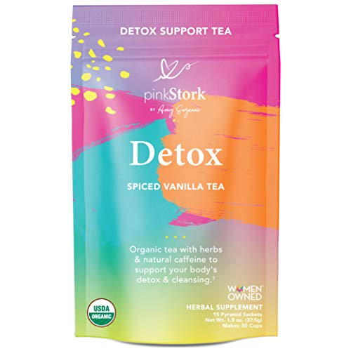 New Release - Pink Stork Detox Tea: Spicy Vanilla, USDA Organic, Supports Detoxification + Cleansing with Green Tea + Burdock, Women's Weight Loss Tea, Women-Owned, 30 Cups