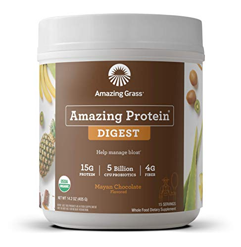 Amazing Grass DIGEST Vegan Protein Powder, Plant Based with Probiotics + Fiber to Manage Bloat, Mayan Chocolate, 15 Servings