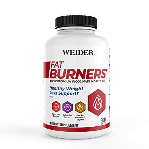 (New Packaging) Weider FAT BURNERS, Healthy Weight Loss & Energy Support with Chromium Picolinate, Green Tea Extract, Kola Nut, Cayenne & Cinnamon Powder, 2 MONTH SUPPLY'