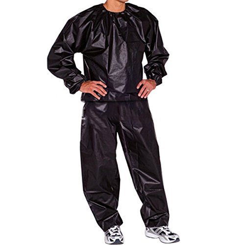 Evaliana Sweat Track Sauna Suit Fitness Weight Loss Exercise Gym Training, Black, XX-Large