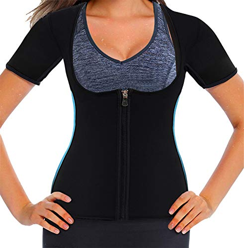 Mlxgoie Women Neoprene Sauna Sweat Waist Trainer Vest for Weight Loss Gym Workout Body Shaper Tank Top Shirt with Zipper (Blue, XXXX-Large)