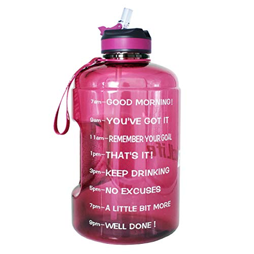 BuildLife Gallon Motivational Water Bottle with Time Marked to Drink More Daily and Nozzle,BPA Free Reusable Gym Sports Outdoor Large (128OZ) Capacity (Bright Purple, 1 Gallon)