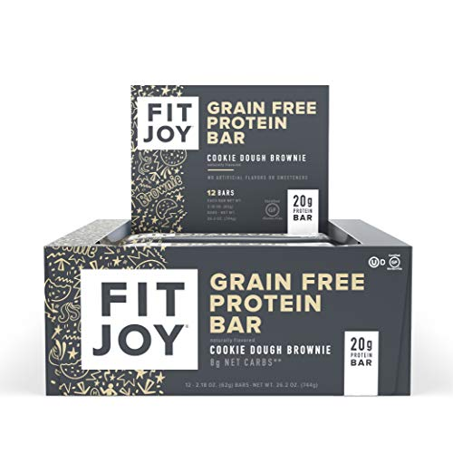 FitJoy Protein Bars, Cookie Dough Brownie, Gluten Free, Grain Free, Low Carb, 2.11 Ounce, 12 Pack
