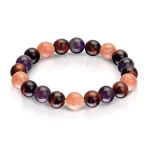 Triple Stone Ultimate Weight Loss Bracelet – Boost Metabolism Reduce Bloating – Slimming Bracelet – Red Tiger Eye – Amethyst – Sunstone – Stone Bead Bracelet (10mm)