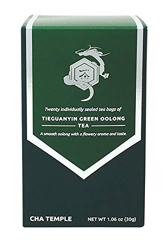 Organic Tieguanyin Green Oolong Tea - 20 Tea Bags, Contains Caffeine, All Natural, Rich in Antioxidants, Supports Weight Loss, Aids Brain Function
