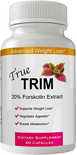 True Trim Forskolin for Weight Loss Pills Tablets Supplement - Capsules with Natural High Quality Pure Forskolin Extract Diet Pills