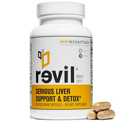 WelEssentials Liver Detox and Herbal Support - 90 Vegetarian Capsules - Revil Dietary Supplement with Organic Milk Thistle, Burdock Vitamin C and NAC - 30 Day Detox - Gluten-Free