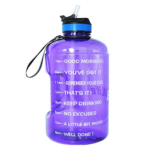QuiFit Gallon/128 oz Water Bottle with Straw and Motivational Time Marker BPA Free Easy Sipping Large Reusable Sport Water Jug for Fitness and Outdoor Enthusiasts (Purple,1 gallon)