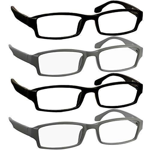 Reading Glasses 2.5 2 Flat Black 2 Flat Gray Readers for Men and Women Stylish Look and Crystal Clear Vision When You Need It! Comfort Spring Arms & Dura-Tight Screws