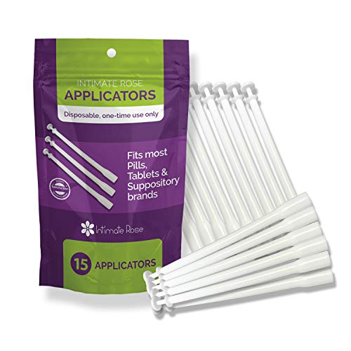 15 Count Vaginal Suppository Applicators, Individually Wrapped, Disposable Applicator - Fits Most Suppositories, Boric Acid & More! from Intimate Rose, 15 Pack