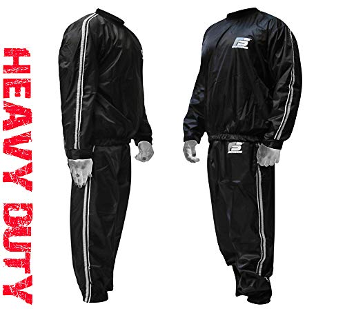 FIGHTSENSE MMA Sauna Sweat Suit Non Rip Track Weight Loss Slimming Fitness Gym Exercise Training (Silver, 3XL)