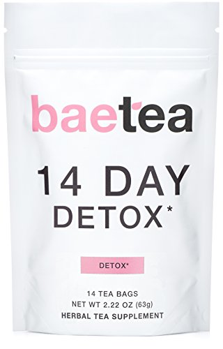 Baetea 14-Day Teatox Herbal Detox Tea Supplement with Green Tea & Ginger Root, 14 Tea Bags