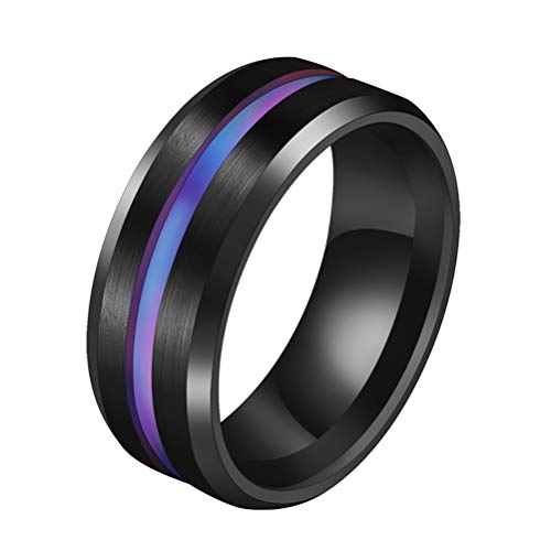 JULAN Stainless Steel Brushed Groove Ring Weight Loss Ring Magnetic Therapy Healthcare Finger Ring