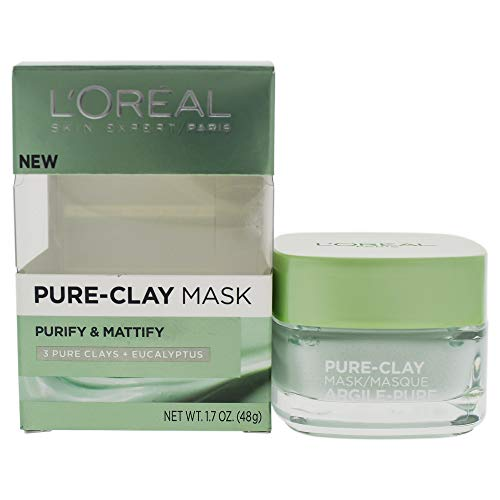 L'OrÃal Paris Skincare Pure-Clay Face Mask with Eucalyptus for Oily and Shiny Skin to Purify and Matify, 1.7 Ounce (Pack of 1)