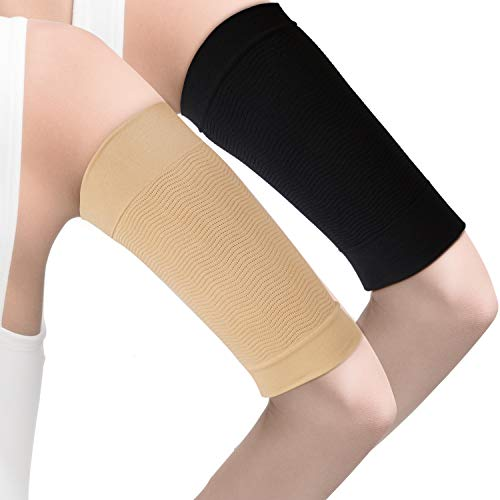 4 Pairs Slimming Arm Sleeves Arm Elastic Compression Arm Shapers Sport Fitness Arm Shapers for Women Girls Weight Loss (Black and Nude Color)