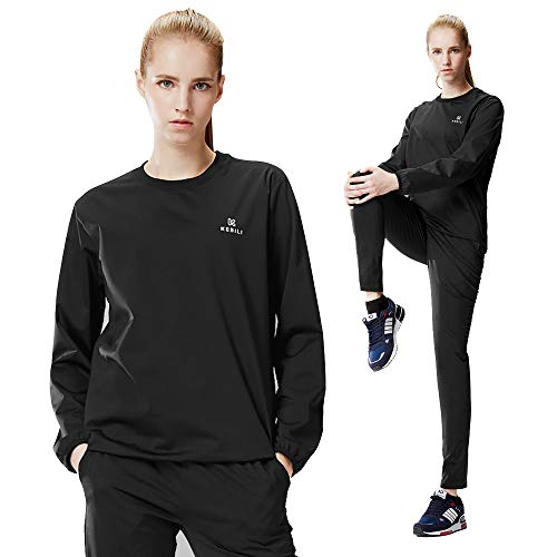 KEBILI Sauna Suit Round Women Weight Loss Gym Fitness Exercise Workout Sweat Training Hot Fat (Black Round Suit, Top - L/Pants - L)