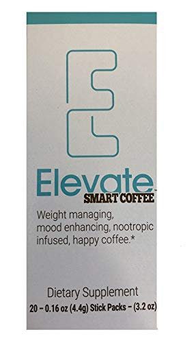 Elevacity Elevate Smart Coffee Individually wrapped single serving packets- 20 packs, 10 Calories & 130 milligrams Caffeine/Serving- New Improved Formula