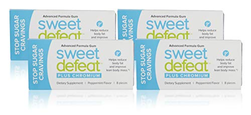 Sweet Defeat Advanced Formula Peppermint Gum with Added Chromium, Reduce Sugar Cravings in Seconds, Deter Snacking, Peppermint, 8 Count, Pack of 4