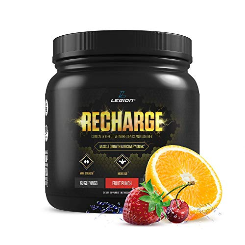 Legion Recharge Post Workout Supplement - All Natural Muscle Builder & Recovery Drink with Creatine Monohydrate. Naturally Sweetened & Flavored, Safe & Healthy. Fruit Punch, 60 Servings.