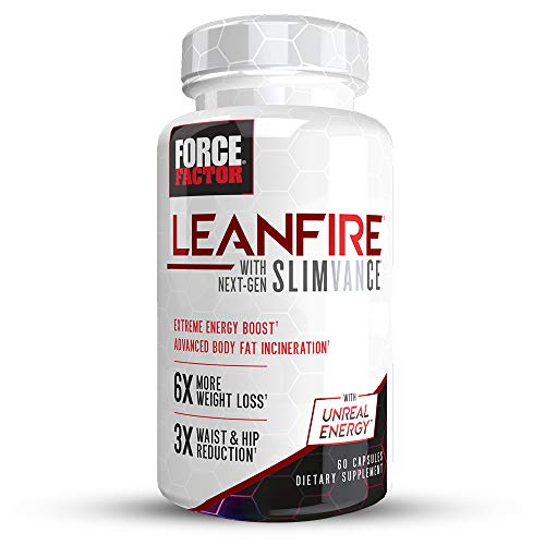 Force Factor LeanFire with Next-Gen Slimvance, Advanced Thermogenic Fat Burner, Extend Elevated Energy & Endurance, Enhance Focus & Mental Clarity, 60 Count