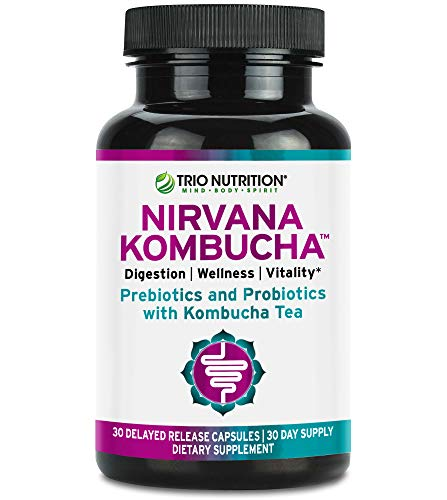 Prebiotics, Probiotics with Organic Kombucha for Immune Support and Digestive Health | Nirvana Kombucha with Live Probiotics, Delayed Release Capsule, Max Survival for Women & Men | Trio Nutrition*