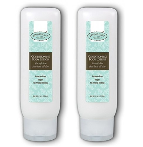 Living Clay Conditioning Body Lotion (Pack of 2) with Natural Calcium Bentonite Clay, Aloe, Grapeseed Oil and Coconut Oil, 4 oz