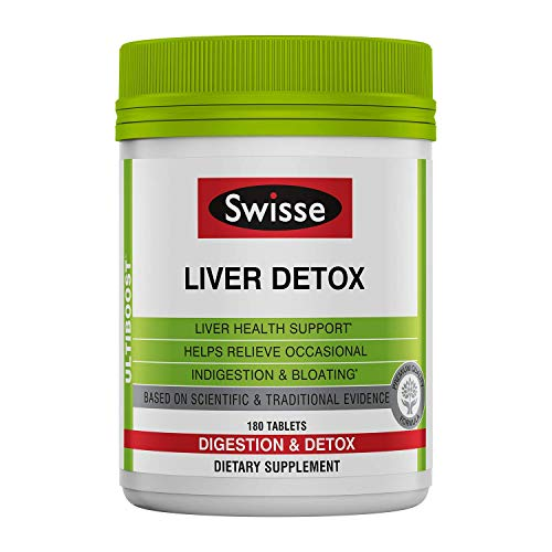 Swisse Ultiboost Liver Detox   Supports Liver Health & Function   Provides Relief for Indigestion & Bloating   Milk Thistle, Artichoke & Turmeric  180 Tablets