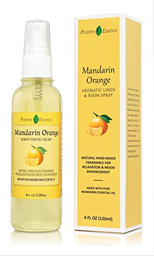 Positive Essence Mandarin Orange Linen and Room Spray, Natural Aromatic Mist Made with Pure Mandarin Essential Oil, Relax Your Body & Mind, Perfect as a Bathroom Air Freshener Odor Eliminator