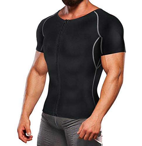 TAILONG Neoprene Sweat Suit Weight Loss Shirt Men Exercise Clothes Sauna Hot Fitness Top Workout Body Shaper (Black, 2XL)
